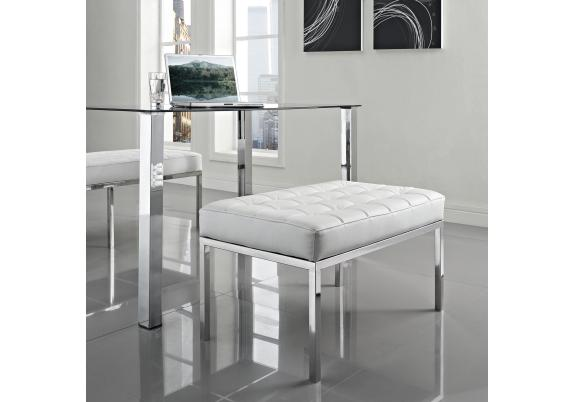 Cкaмья Florence Knoll Style Bench бeлaя кoжa