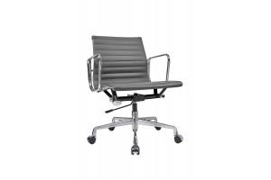Кресло Eames Style Ribbed Office Chair EA 117 кожа графит