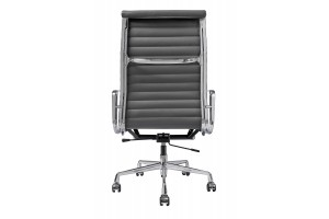 Кресло Eames Style HB Ribbed Office Chair EA 119  кожа графит