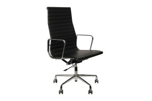 Кресло Eames Style HB Ribbed Office Chair EA 119 черная кожа