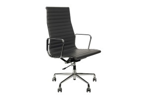 Кресло Eames Style HB Ribbed Office Chair EA 119 серая кожа