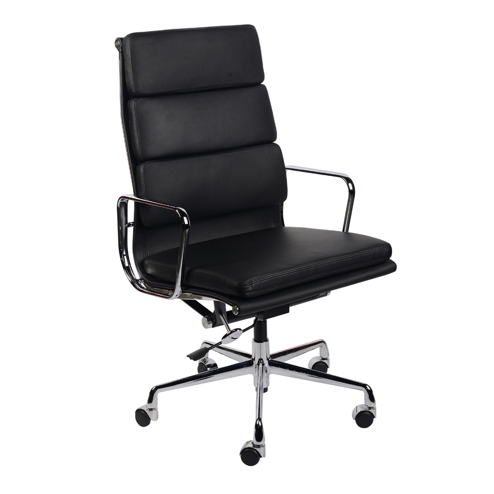 Кресло  Eames Style HB Soft Pad Executive Chair EA 219 черная кожа